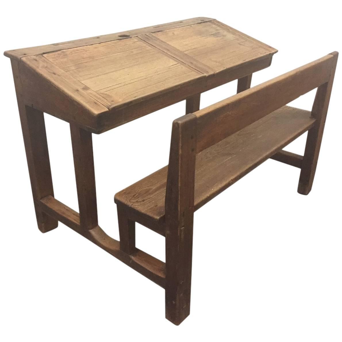 antique solid pine double school desk for sale at 1stdibs. Black Bedroom Furniture Sets. Home Design Ideas