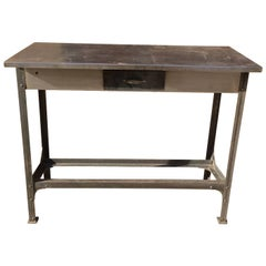 Industrial Brushed Steel Work Bench Table