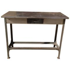 Industrial Brushed Steel Work Bench Tables