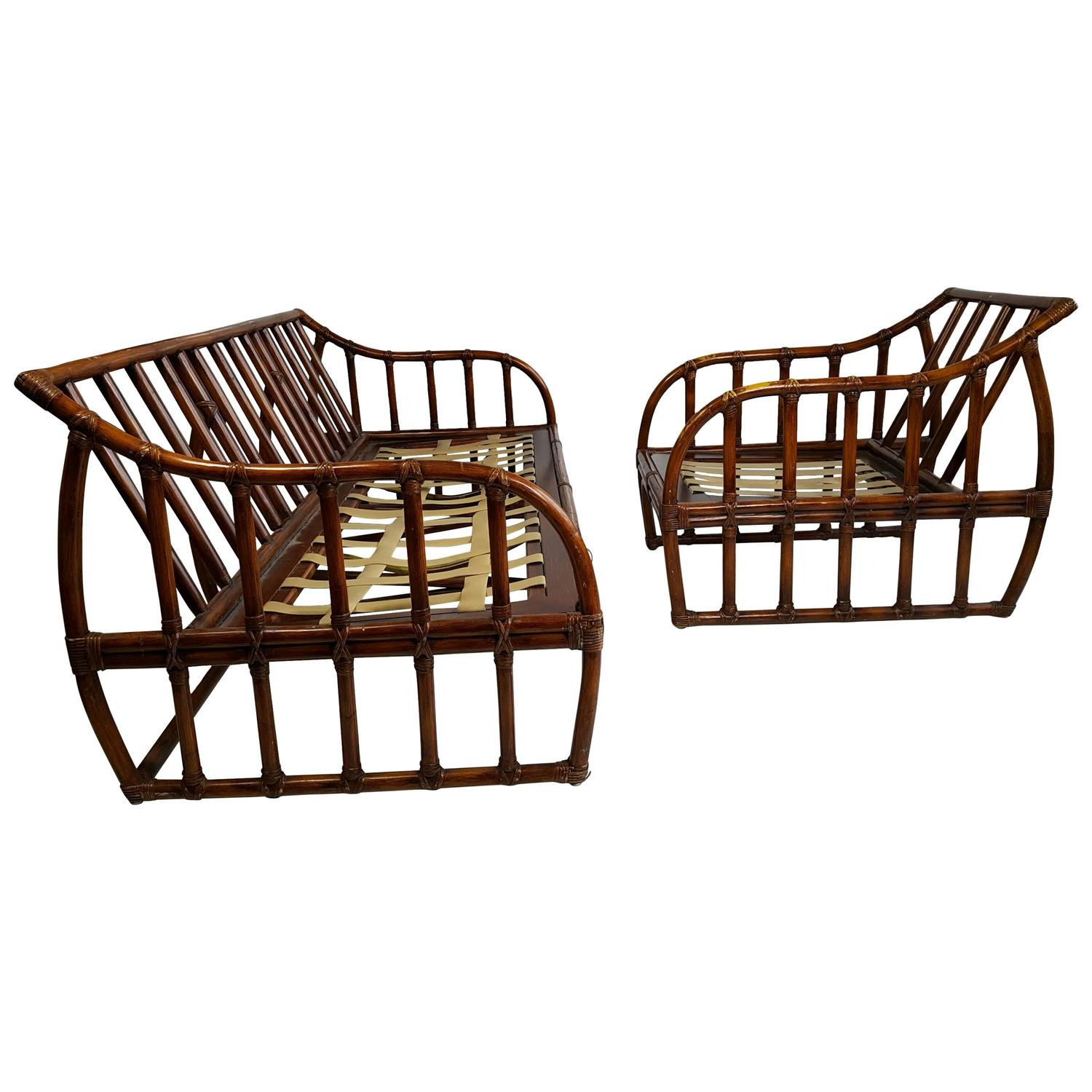 Ficks Reed Bamboo Sofa and Chair Art Deco For Sale at 1stdibs
