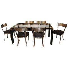 DIA Design Institute of America Steel Klismos Chairs Dining Table