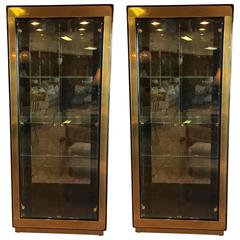 Pair of Mastercraft Brass Display Cabinets or Vitrines with Original Label