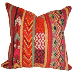 Custom Pillow Cut from a Vintage Moroccan Hand Loomed Wool Rug, Atlas Mountains