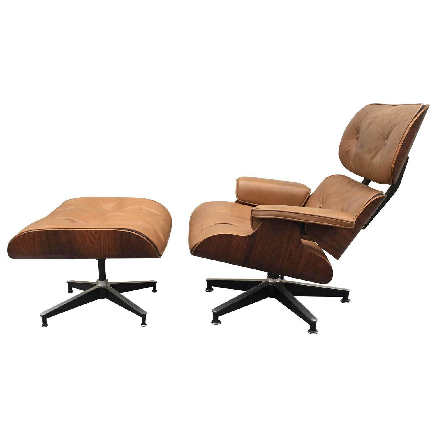 Tan rosewood herman miller eames lounge chair and ottoman - Herman miller lounge chair and ottoman ...