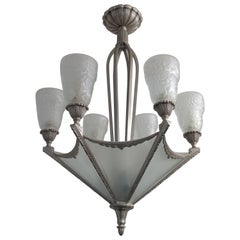 French Art Deco Chandelier by Muller