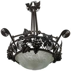 French Art Deco Wrought Iron Grape Chandelier by Schneider
