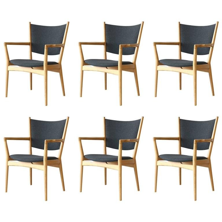 Six Hans Wegner PP240 PP Møbler Vintage Danish Modern Ash Armchairs 1