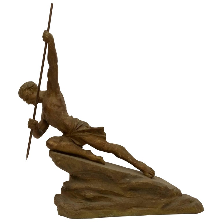 French Art Deco Hunter with a spear Sculpture by R. Varnier For Sale