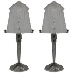 French Art Deco Pair of Muller Frères Table Lamps