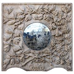 19th Century Italian Mirror with Carved Oak Leaves