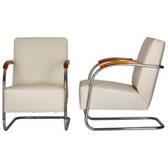 Pair of Cantilever Tubular Steel Chairs, Czech Bauhaus by Mücke-Melder, 1930s