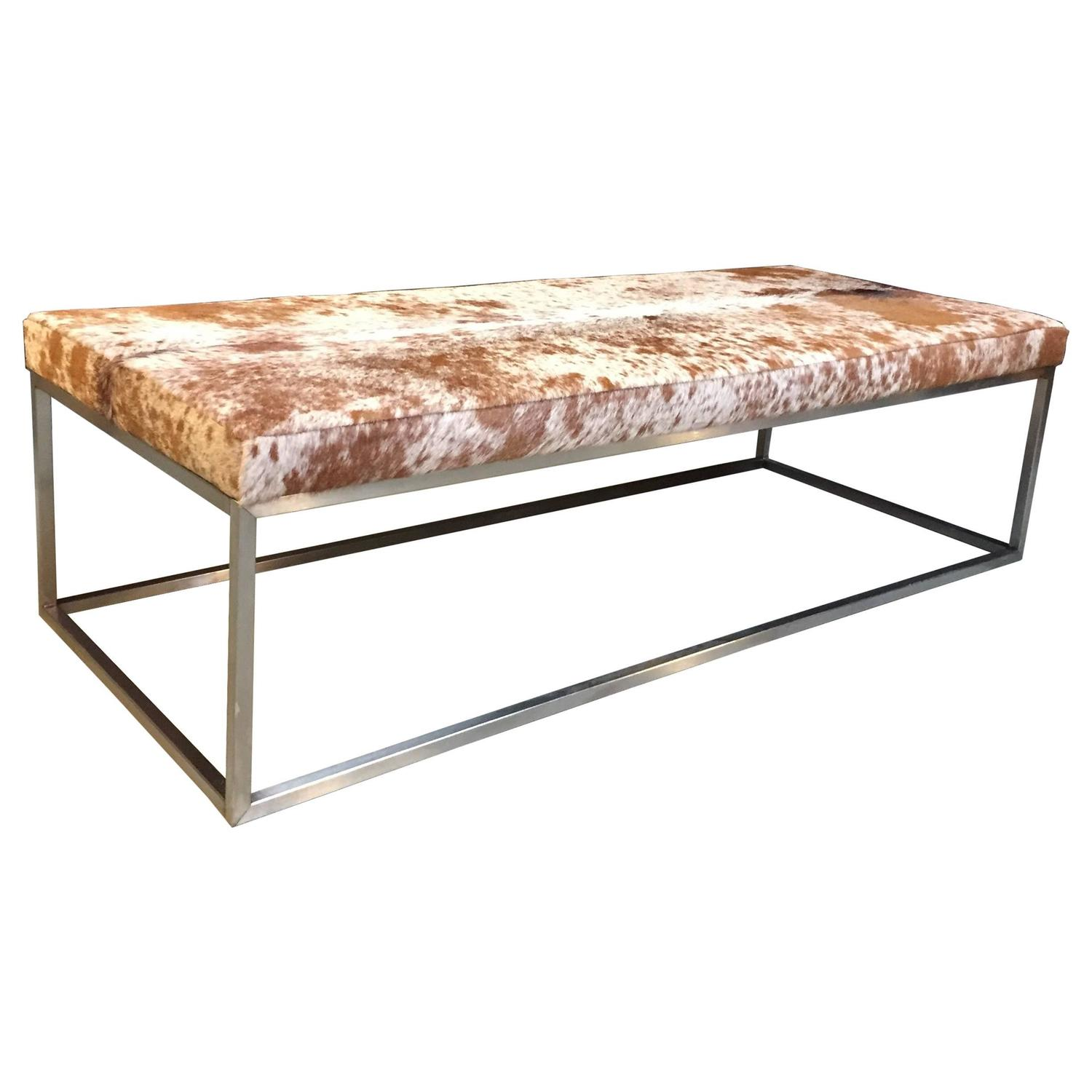 Coffee Table With Cow Hide Top At 1stdibs