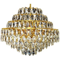 Very Large 9-Tiers Gilded Lobmeyr Chandelier, 1960s Modernist Pendant Lamp