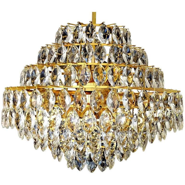 Large Austrian Ballroom Gilded Lobmeyr Crystal Chandelier Pendant Light