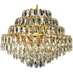 Very Large 9-Tiers Gilded Lobmeyr Chandelier, 1960s Modernist Pendant Light
