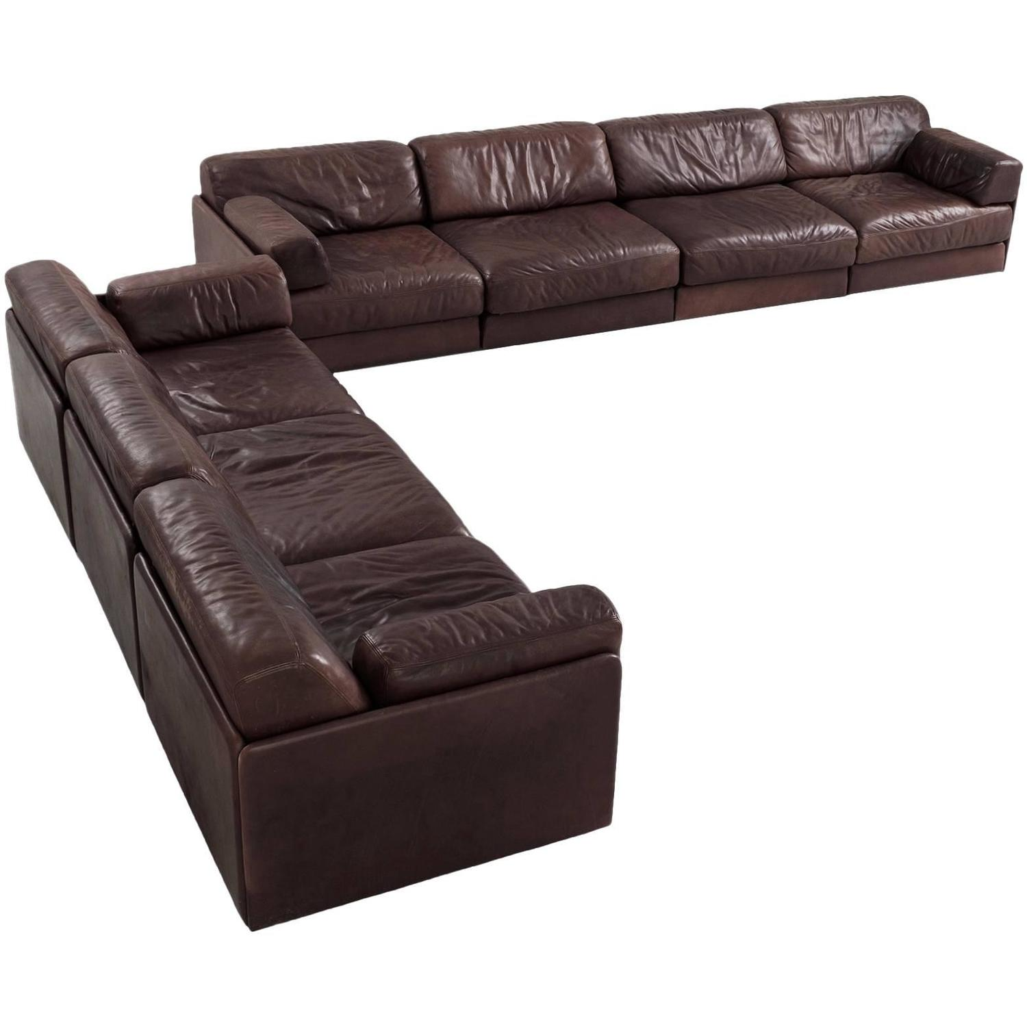 de sede ds 76 modular sofa in dark brown leather for sale. Black Bedroom Furniture Sets. Home Design Ideas
