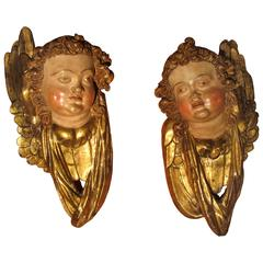 Pair of Gilt and Polychrome Wooden Angels
