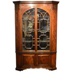 Mahogany George III Period Chippendale Inspired Double Corner Cabinet
