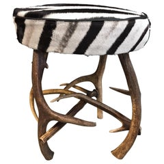 Antler Stool with Zebra Skin