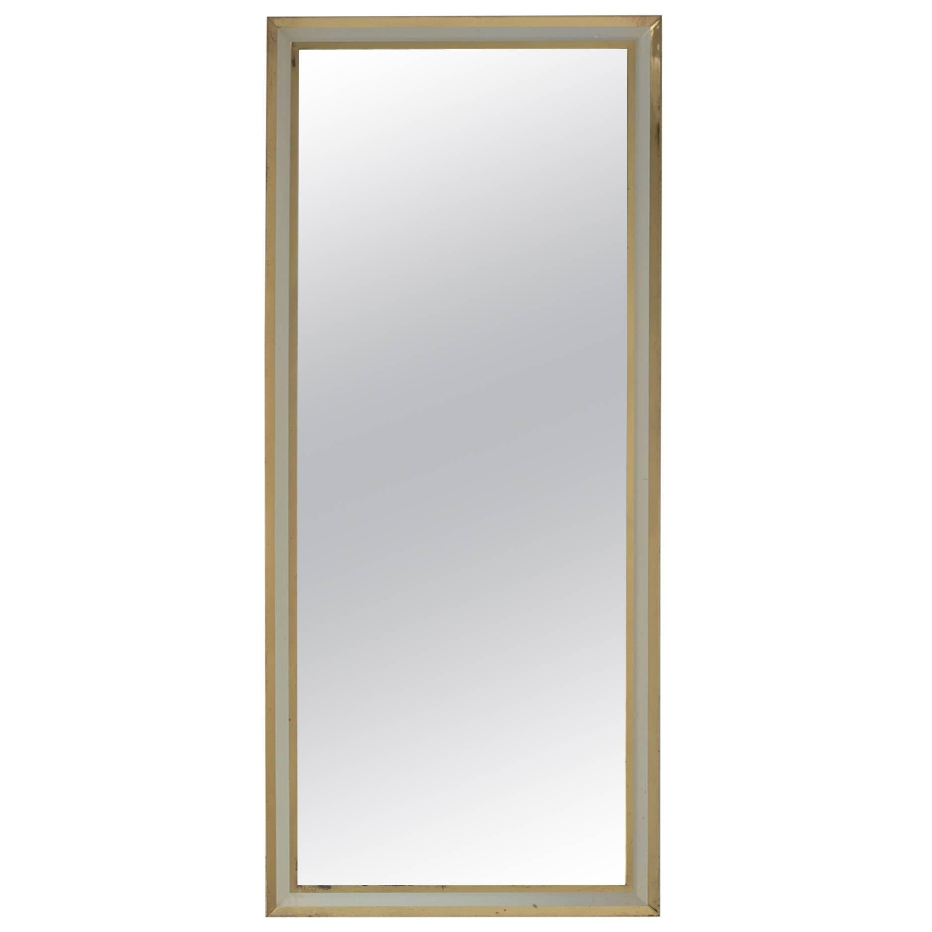Large Rectangular Brass Mirror, Germany, 1950s