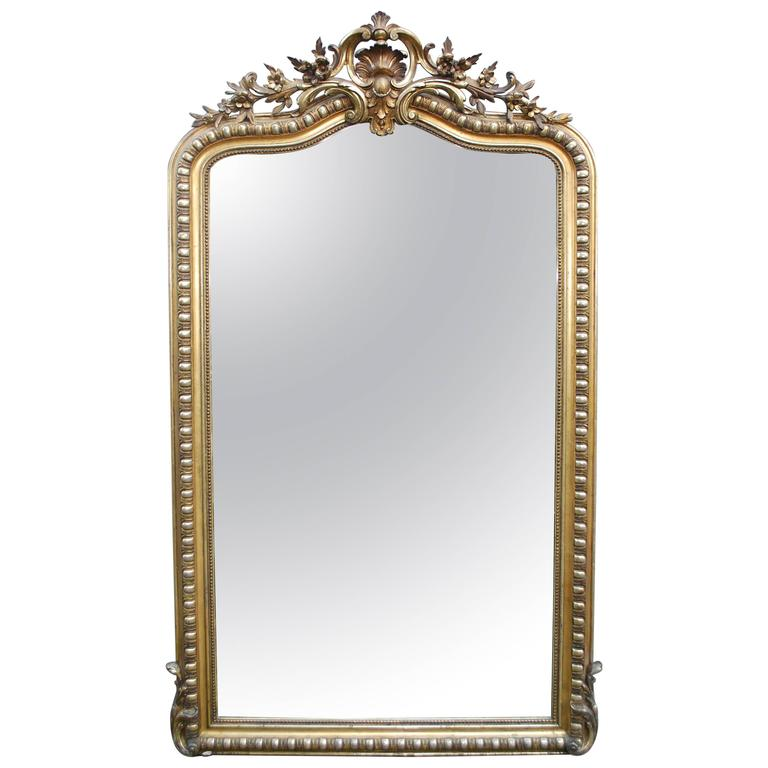 large 19th century gold gilded baroque mirror for sale at