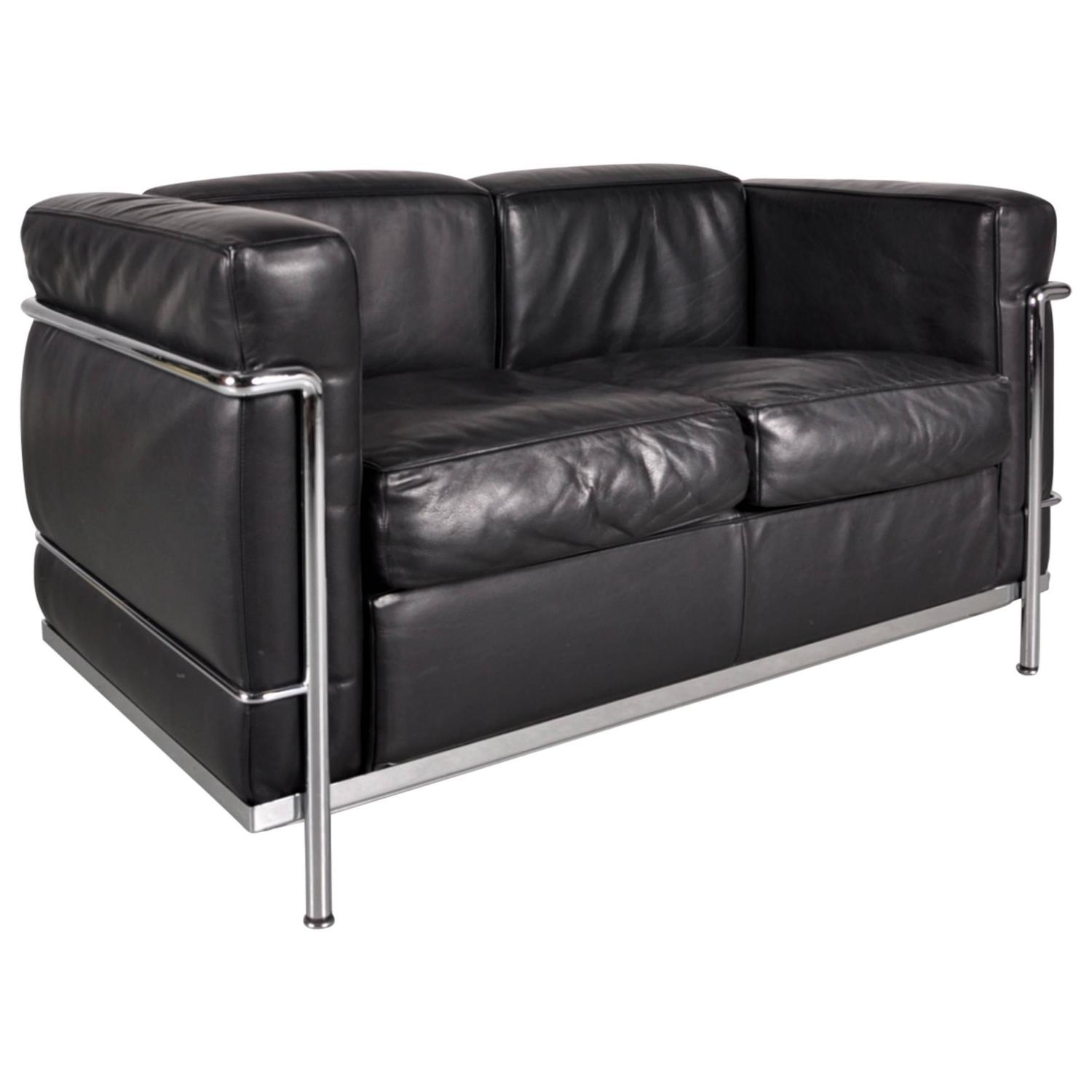 lc3 two seater sofa by le corbusier for cassina italy. Black Bedroom Furniture Sets. Home Design Ideas