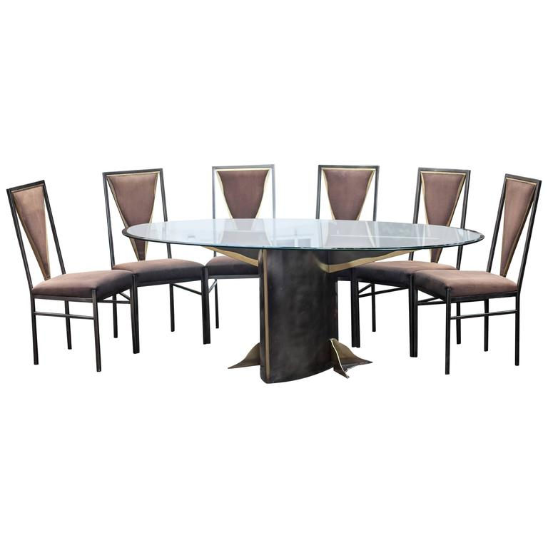 Set of Bicolor Dining Table and Six Chairs Attributed to Maison Jansen For Sale