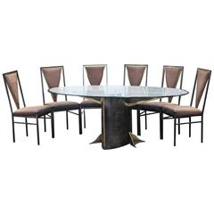 Set of Bicolor Dining Table and Six Chairs Attributed to Maison Jansen