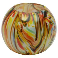 1960s Multicolor Latticino Murano Glass Globe Vase