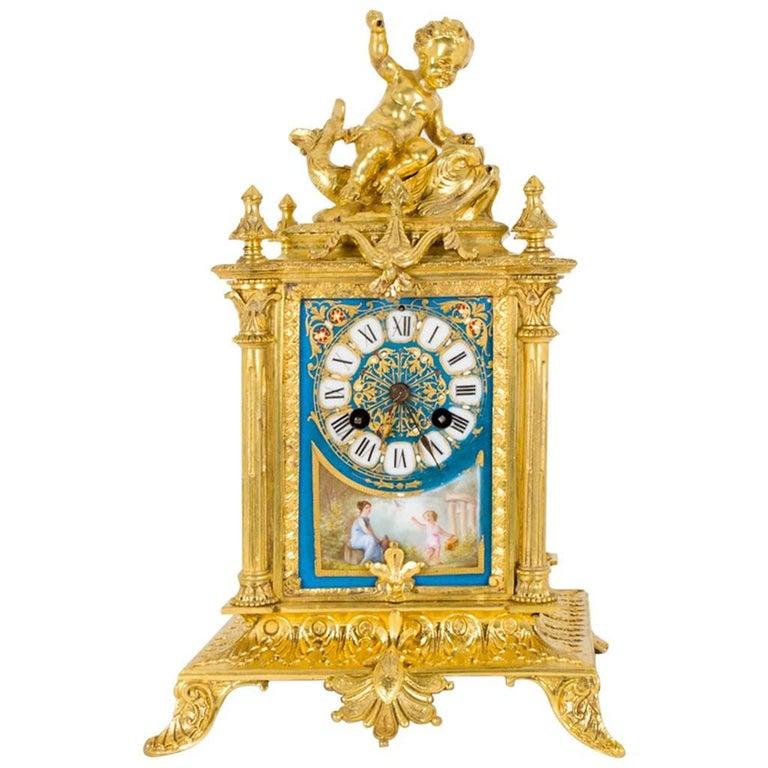 19th Century French Sevres Porcelain Ormolu Clock