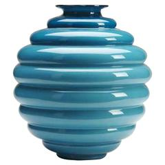 Blue Beehive Form Glass Vase by Venini