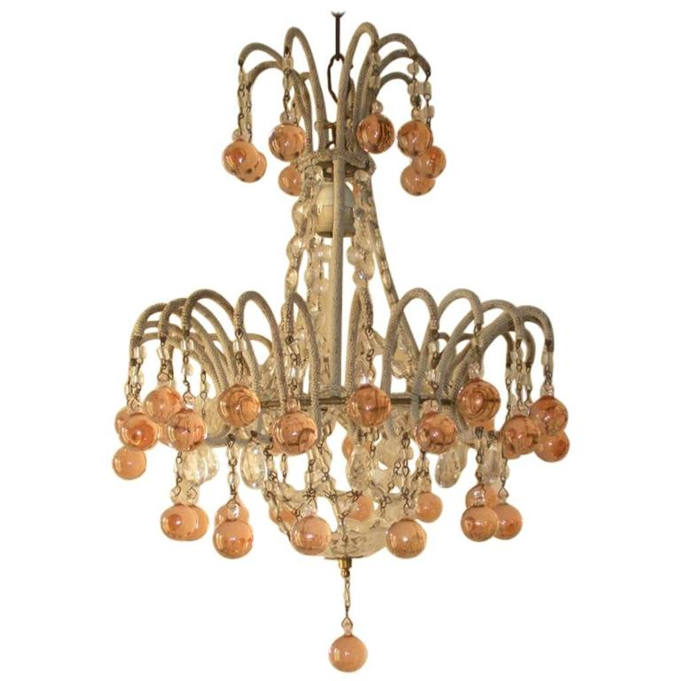 Micro Beaded Pink Murano Balls Chandelier, circa 1920 For Sale