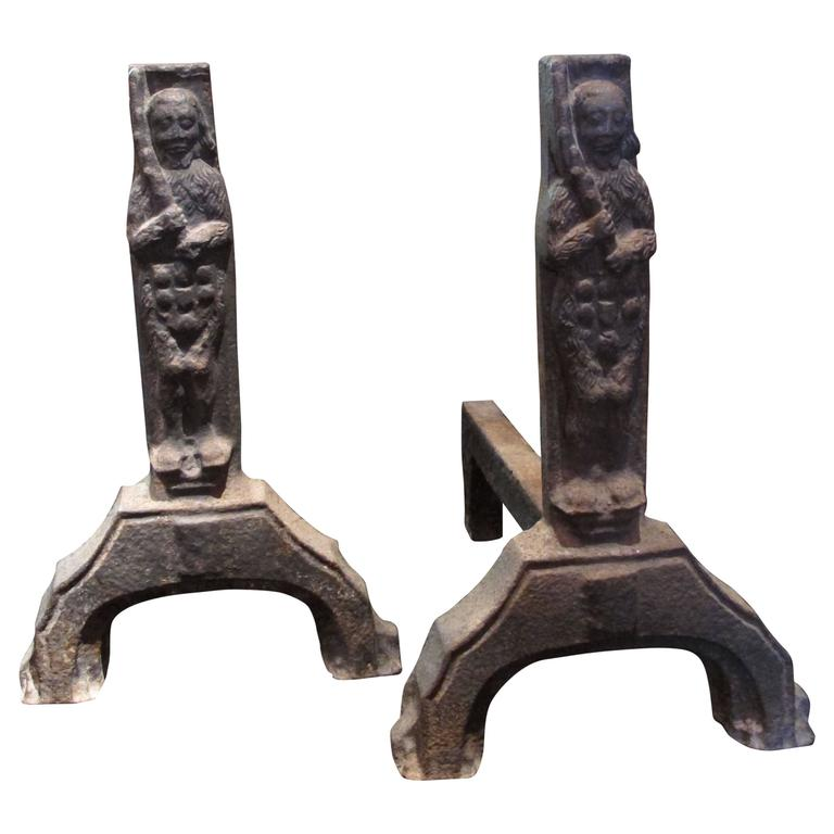 Rare Pair of Cast Iron Andirons of Gothic Period with Wild Men Decoration