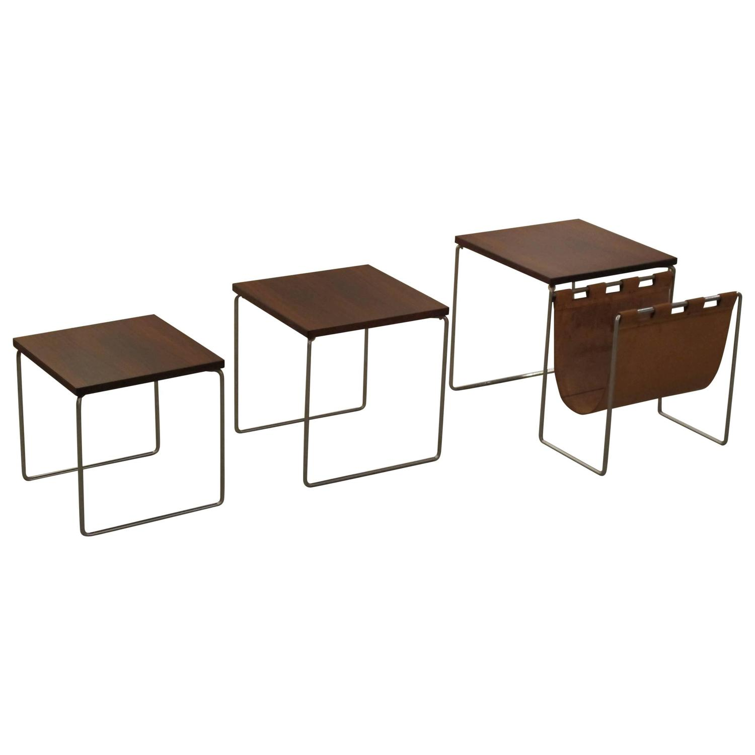 Leather Nesting Tables ~ Rosewood nesting tables with leather magazine rack at stdibs