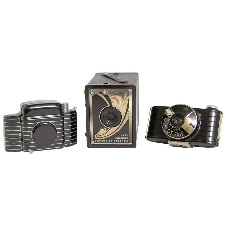 Trio Machine Age Teague Designed Kodak Cameras Bantam World's Fair