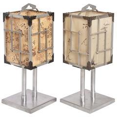 Pair Japanese CPO Machine Age Lamps by K.K. Yoshida Seisakusho, Silk Shades