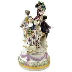 Meissen Gorgeous Figurine Group Four Gardener Children by Kaendler, circa 1870