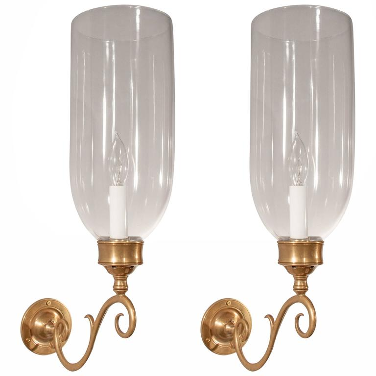 Pair of 19th Century English Hurricane Wall Sconces at 1stdibs