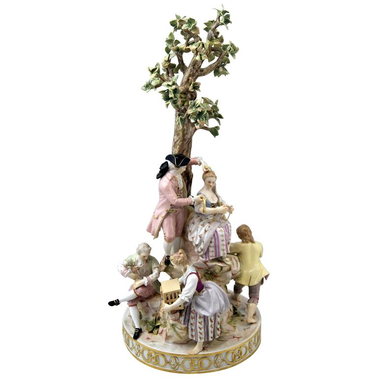 Meissen Gorgeous Figurines Group Six Gardeners, Tall Tree by Acier, circa 1870