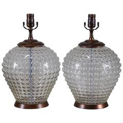 Pair of Vintage French Hobnail Glass Vessels, circa 1920, Wired as Lamps