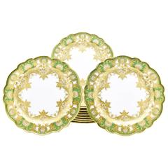 Set of 12 Royal Worcester Green Dinner Plates,  Raised Paste Gold and Shaped Rim