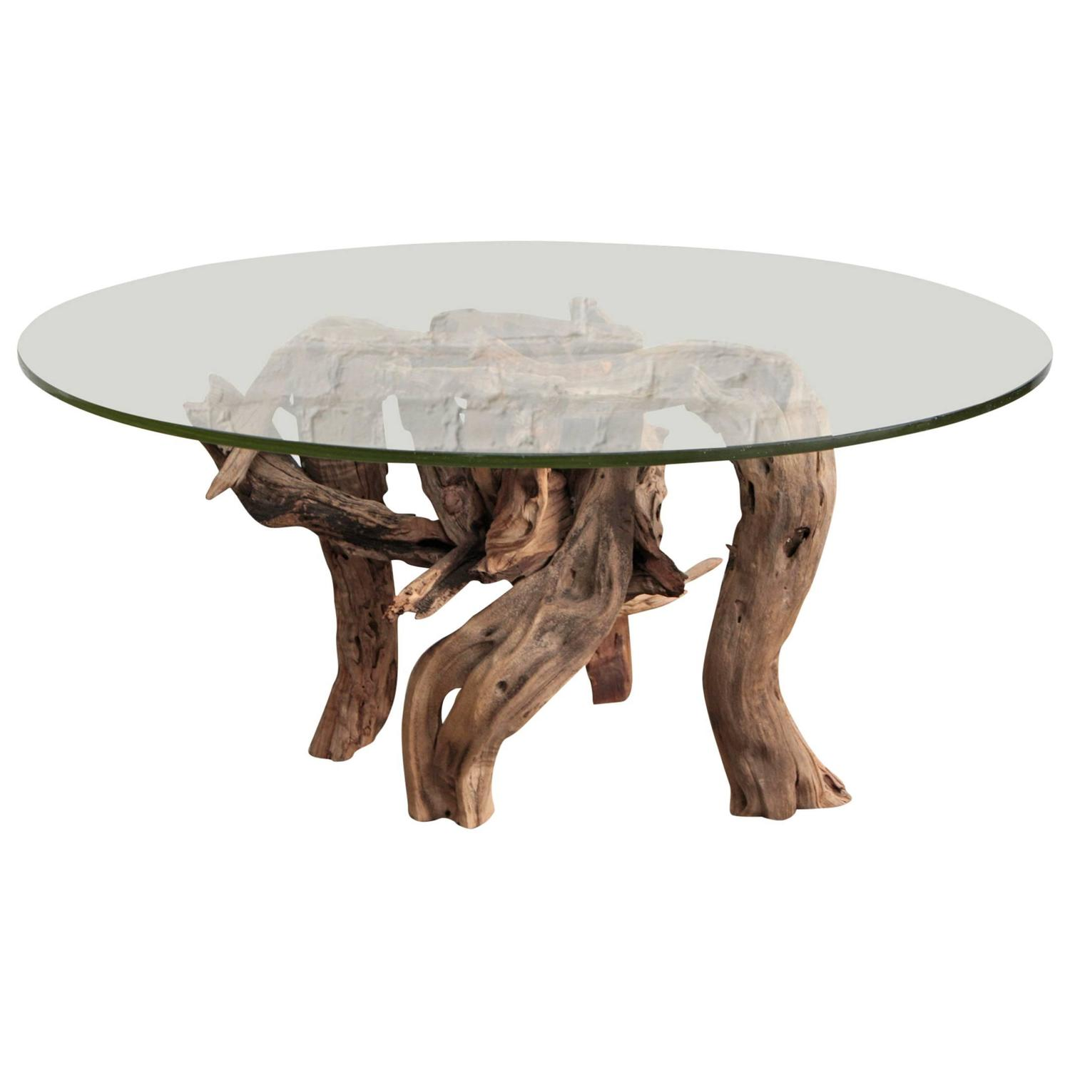 Driftwood coffee table round glass top for sale at 1stdibs for Round glass coffee table top