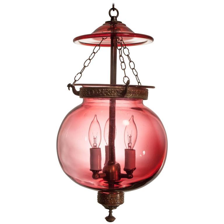 Red Globe Bell Jar Hall Lantern
