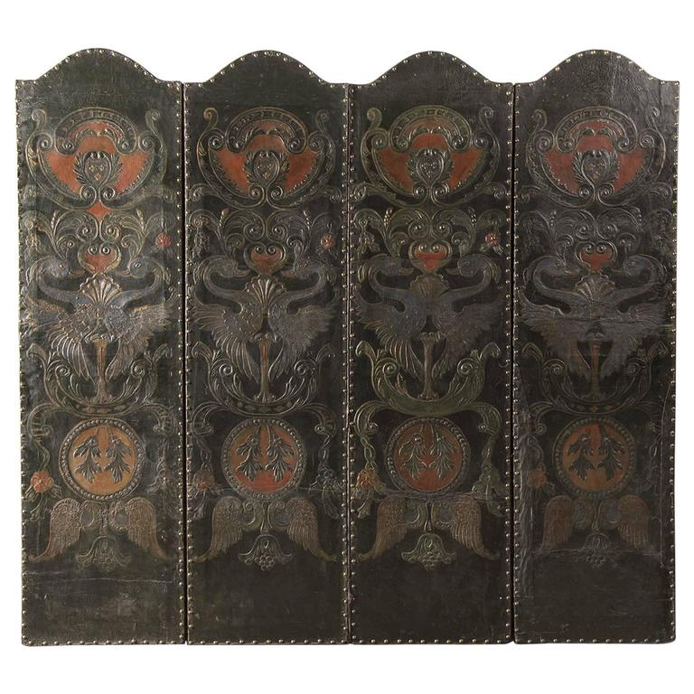 Antique French Four Panel Embossed, Painted, Gold Leaf Leather Screen c. 1840