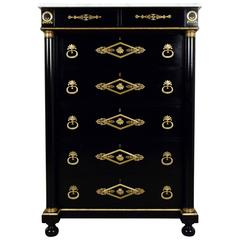 Antique French Empire Ebonized Chest of Drawers