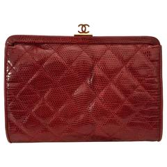 Vintage Quilted Chanel Red Lizard Leather Clutch, with Shoulder Chain