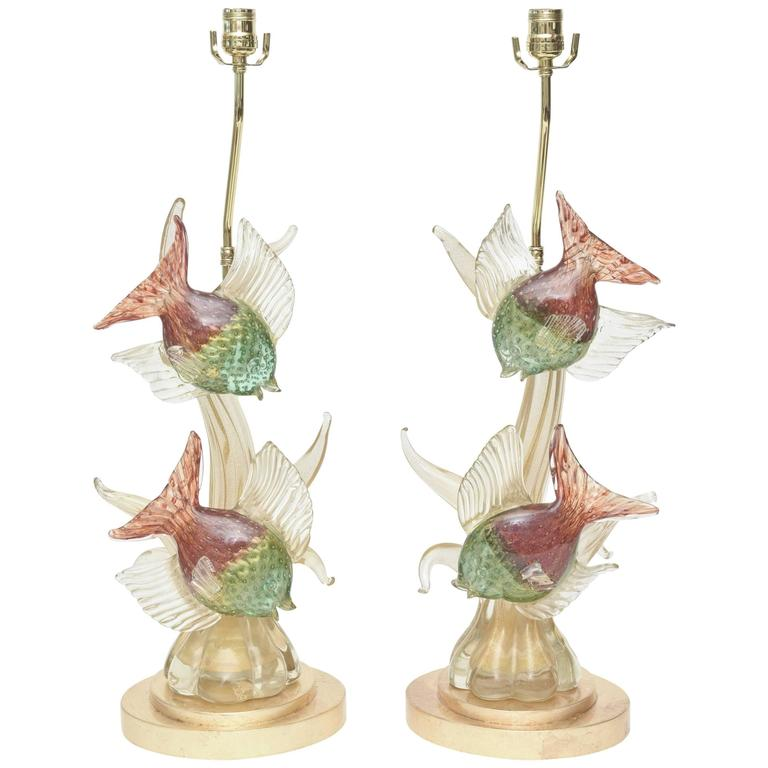 Pair of Mid Century Italian Murano Barovier e Toso Glass Lamps