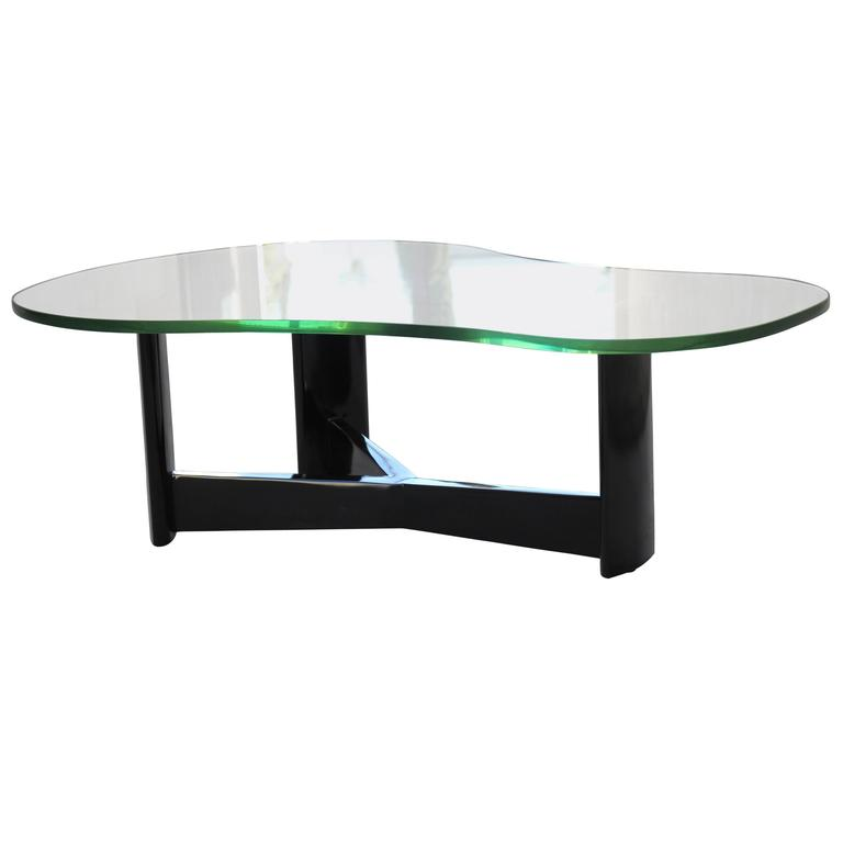 Custom Paul Laszlo Cocktail Table with Original Green Glass
