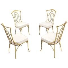 Set of Four Cast Aluminum Faux Bamboo Chairs with New Upholstery