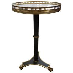 French Louis XVI Style Bronze Gueridon with Marble Top